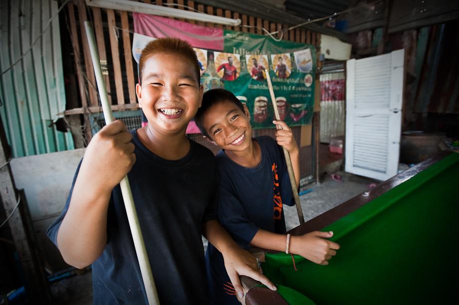 Pool fun in the slums of Bangkok