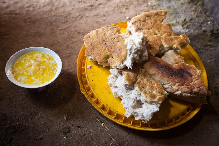Yak milk tea and home baked bread, Nomad tent, Qinghai, Tibetan plateau